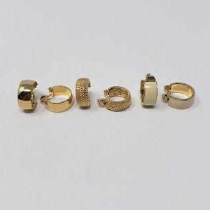Monet Hoop Clip On Earrings 3 Pairs Gold Tone